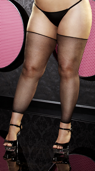 Plus Size Black Footless Fishnet Thigh Highs, Plus Size Black Footless Thigh Highs, Plus Size Black Fishnet Thigh Highs