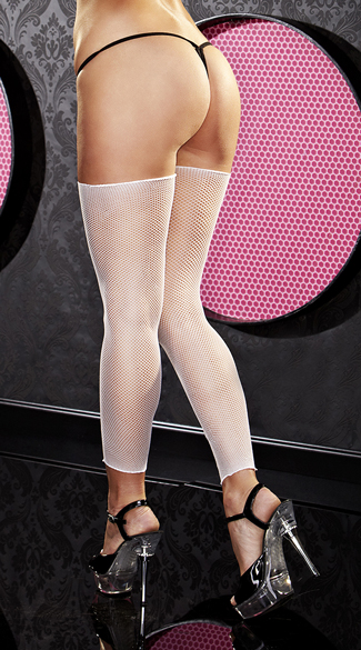 White Footless Fishnet Thigh Highs