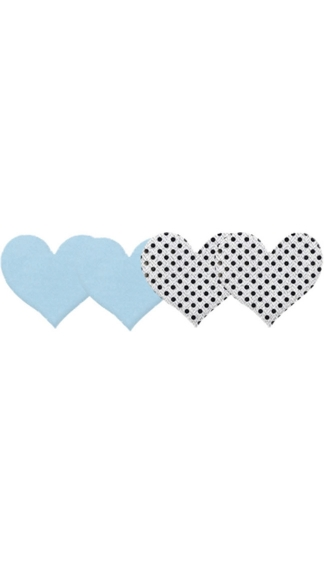 True Blue Hearts Pasties, Light Blue Heart Pasties, Silver Sequin Pasties