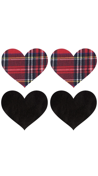 Schoolgirl Heart Pasties, Plaid Nipple Pasties, Heart Nipple Pasties