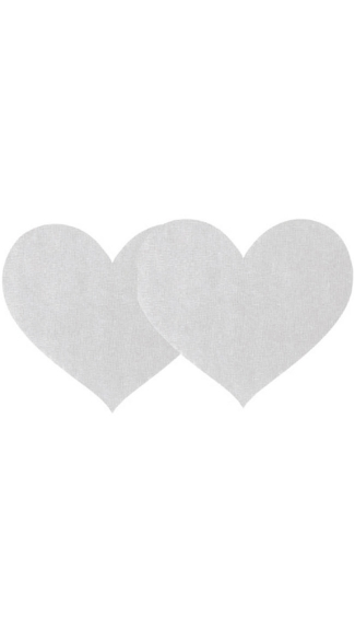 White Satin Heart Pasties, White Shimmery Heart Pasties, Shimmery Satin Heart Pasties