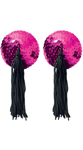 Hot Pink Sequin Pasties with Tassel, Sequin Pasties, Tassel Pasties
