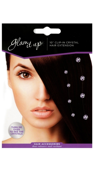 Glam It Up, Clip In Crystal Hair Extension, Hanging Crystals Hair Clip