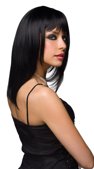 Black Straight Wig With Bangs