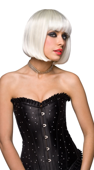 Platinum Blonde Curled Out Bob Wig, Platinum Blonde Straight Bob Wig, Curled Bob Wig