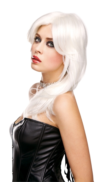 Rockstar White Feathered Wig