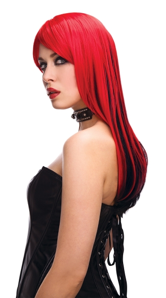 Red And Black Rocker Vixen Wig