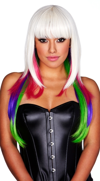 White with Neon Rainbow Tips Wig, Neon Rave Wig, Neon Wig, White Wig