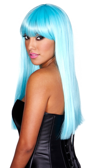 Long Neon Light Blue Wig