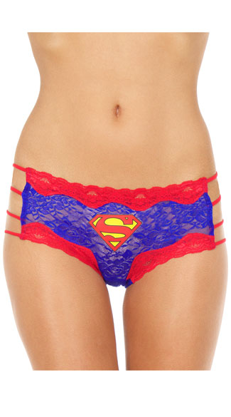 Superman Hipster Panty, Superman Panty, Blue and Red Panty