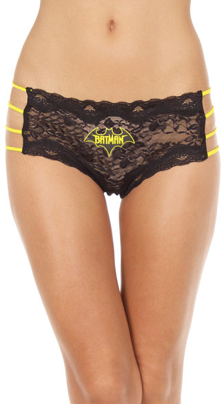 Batman Hipster Panty, Batman Panty, Black and Yellow Lace Panty