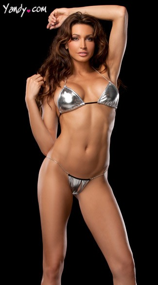 Stretch Metallic Chain Side Thong and Tri Top