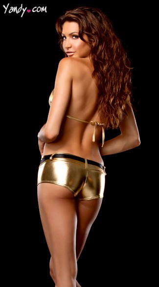 Stretch Metallic Shorts and Tri Top