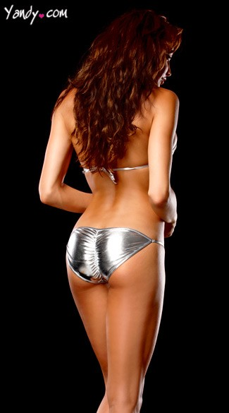 Stretch Metallic Double Ring Tri Top