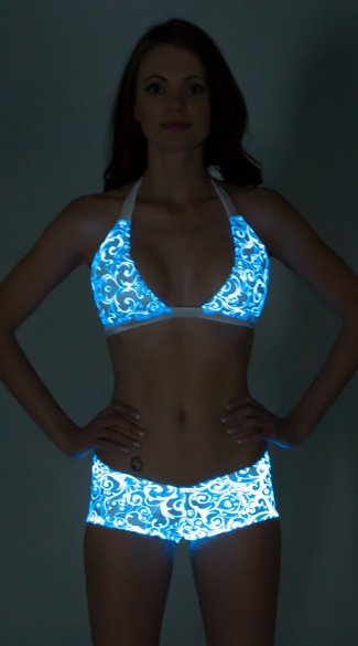 Glow in the Dark Printed Banded Halter Top