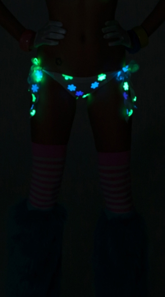 Daisy Printed Glow in the Dark Scrunch Back Tie Side Bottom