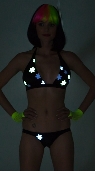 Daisy Printed Glow in the Dark Banded Halter Top