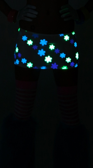 Glow in the Dark Scrunch Back Mini Skirt, Glow in the Dark Skirt
