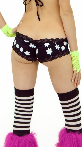 Daisy Printed Glow in the Dark Scrunch Back Micro Short
