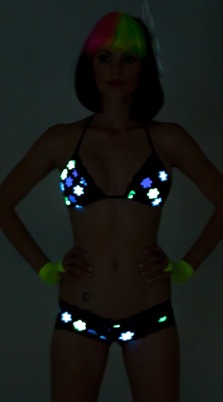 Daisy Printed Glow in the Dark Triangle Top with Lace