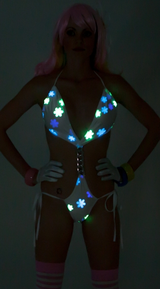 Daisy Printed Glow in the Dark Monokini