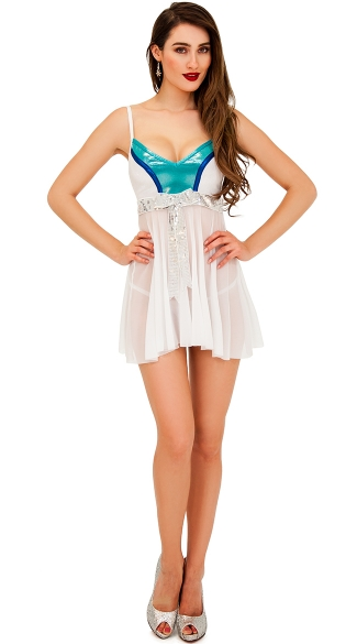 Flirty Ice Goddess Chemise, Sexy Holiday Chemise Lingerie, White Chemise Gown