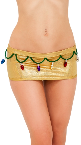 Sexy Christmas Lights Metallic Scrunch Back Skirt, Sexy Scrunch Back Holiday Mini Skirt, Gold Metallic Mini Skirt with Scrunch Back