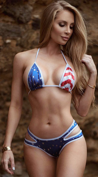 Stars And Stripes Triangle Top, Sexy Spangled Bikini Top, American Flag Triangle Top, Fourth Of July Bikini Top