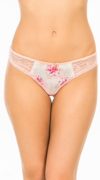 Tropical Paradise Pastel Thong, Light Pink Lace Thong, Floral Thong