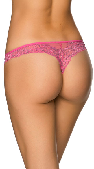 This flirty thong features a soft pink lace thong, black accents, black satin bow detail, and a wide pink lace band.