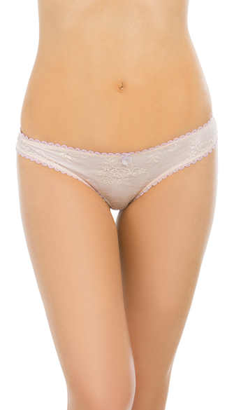 Peach Higher Expectations Bikini Panty, Mesh and Lace Panty, Peach and Lavender Panty