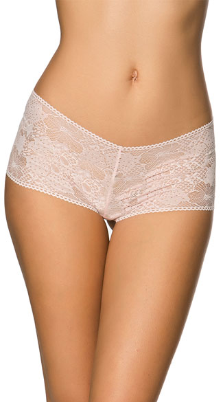 Can\'t Keep Up Pink Boyshort, Pink Lace Boyshort, Sheer Boyshort