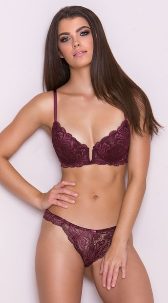 Yandy\'s The Hollyanne Burgundy Thong, burgundy lace thong - Yandy.com