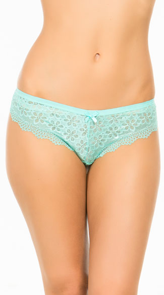 Double Up Daisy Blue Hipster Panty, Blue Lace Panty, Blue Hipster Panty