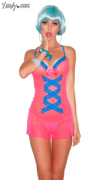 Delicious Mesh Chemise, Neon Pink Chemise, Pink Mesh Chemise, Pink and Turquoise Mesh Chemise