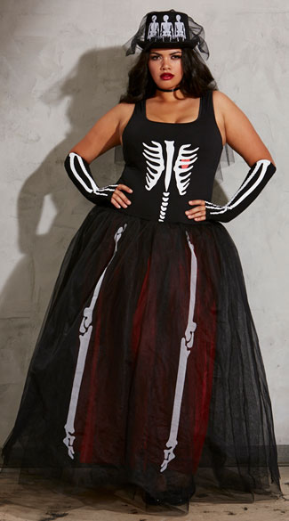 Plus Size Ms. Bones Skeleton Costume