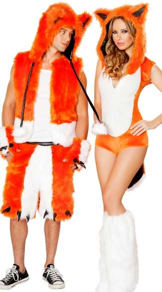 Orange Fox Couples Costume, Fox Halloween Costume, Orange Fox Costume, Mens Fox Vest, Orange Fox Costume Vest