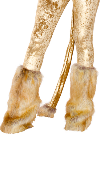 Lion Leg Warmers, Brown Fur Leg Warmers, Furry Leg Warmers