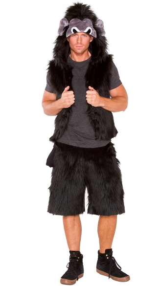 Men\'s Furry Gorilla Vest, Gorilla Costume, Men\'s Gorilla Halloween Costume, Men\'s Furry Gorilla Shorts, Gorilla Costume, Gorilla Halloween Costume