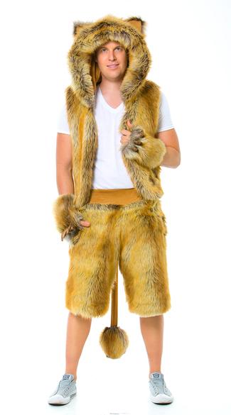 Men's Furry Lion Costume, Men's Lion Vest, Lion Vest ...