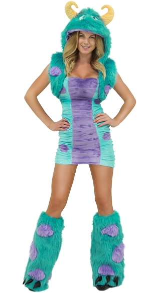 Blue and Purple Furry Dress and Hooded Shrug
