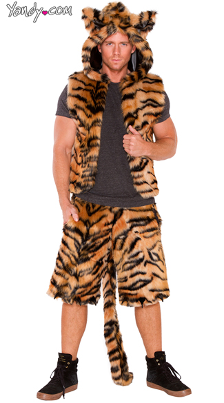 Men\'s Furry Tiger Costume, Men\'s Tiger Vest, Furry Tiger Vest, Tiger Vest, Men\'s Furry Tiger Shorts, Furry Tiger Shorts, Furry Shorts
