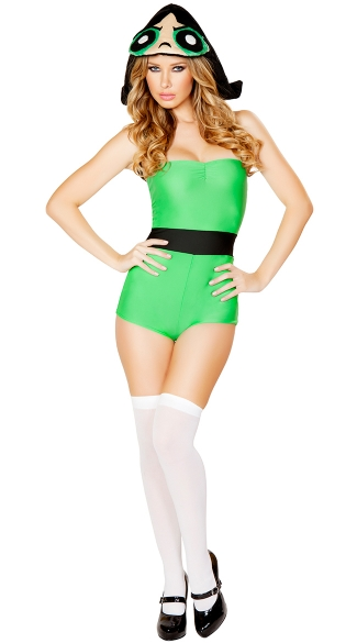 Green Anime Girl Costume, Green Cartoon Superhero Costume