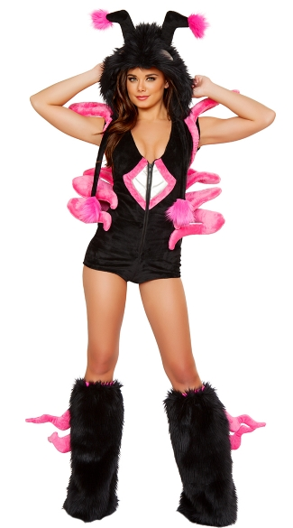 Black and Hot Pink Spider Romper