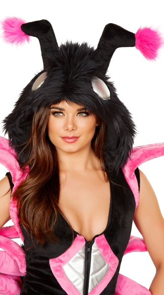 Black and Hot Pink Furry Spider Hood