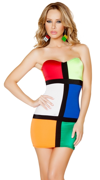 Color Blocked Cube Costume, Sexy Rubiks Cube Costume, Rubiks Cube Halloween Costume