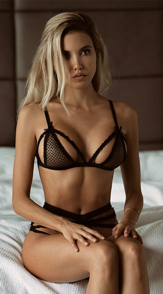 Strappy Fishnet Bralette Set