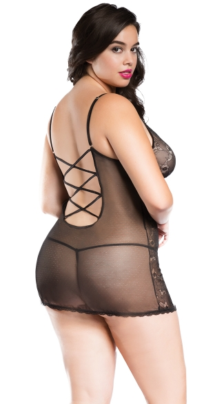 Plus Size Daisy Mesh Strappy Back Chemise