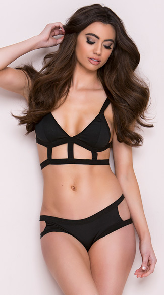 Cage Bra and Panty Set, Multi Strap Bra and Bikini Panty