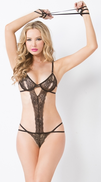 Black Open Cup Lace Teddy